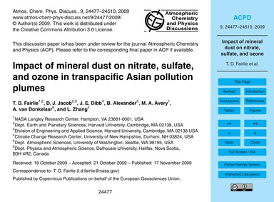Impact of Mineral Dust on Nitrate, Sulfa... by Fairlie, T. D.