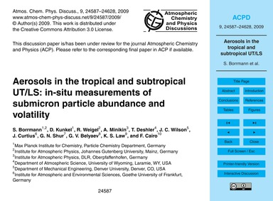Aerosols in the Tropical and Subtropical... by Borrmann, S.