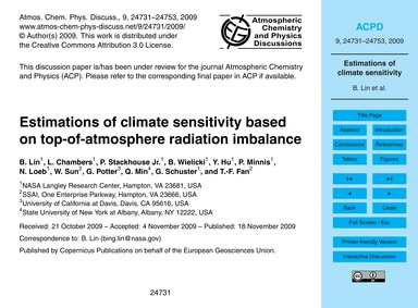 Estimations of Climate Sensitivity Based... by Lin, B.