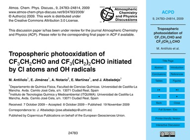 Tropospheric Photooxidation of Cf3Ch2Cho... by Antiñolo, M.