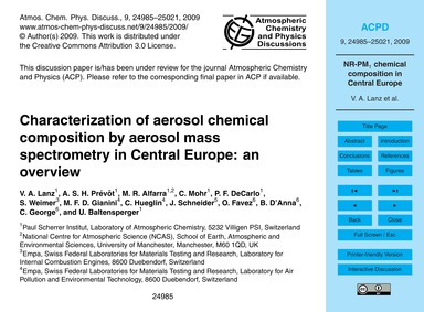 Characterization of Aerosol Chemical Com... by Lanz, V. A.