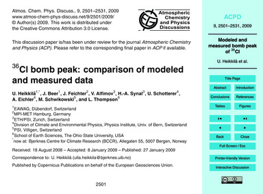 36Cl Bomb Peak: Comparison of Modeled an... by Heikkilä, U.
