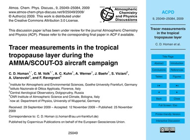 Tracer Measurements in the Tropical Trop... by Homan, C. D.