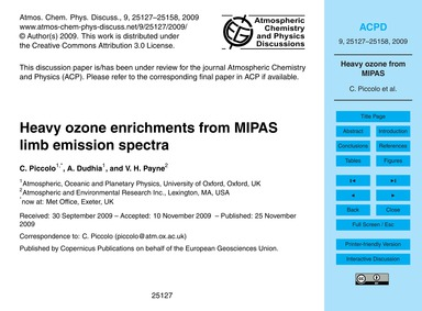 Heavy Ozone Enrichments from Mipas Limb ... by Piccolo, C.