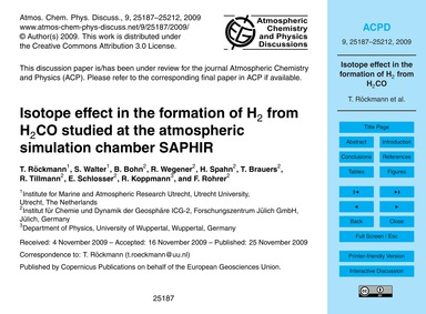 Isotope Effect in the Formation of H2 fr... by Röckmann, T.