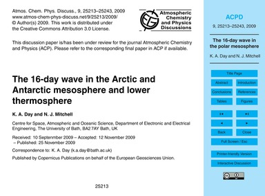 The 16-day Wave in the Arctic and Antarc... by Day, K. A.