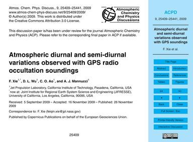 Atmospheric Diurnal and Semi-diurnal Var... by Xie, F.