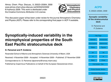 Synoptically-induced Variability in the ... by Painemal, D.