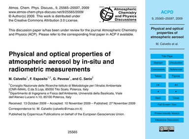 Physical and Optical Properties of Atmos... by Calvello, M.