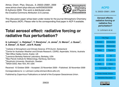 Total Aerosol Effect: Radiative Forcing ... by Lohmann, U.