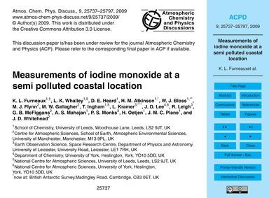 Measurements of Iodine Monoxide at a Sem... by Furneaux, K. L.