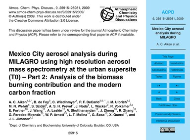 Mexico City Aerosol Analysis During Mila... by Aiken, A. C.