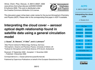Interpreting the Cloud Cover – Aerosol O... by Quaas, J.