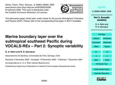 Marine Boundary Layer Over the Subtropic... by Rahn, D. A.