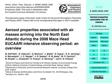 Aerosol Properties Associated with Air M... by Dall'Osto, M.