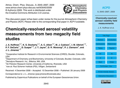 Chemically-resolved Aerosol Volatility M... by Huffman, J. A.