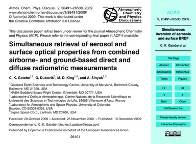 Simultaneous Retrieval of Aerosol and Su... by Gatebe, C. K.