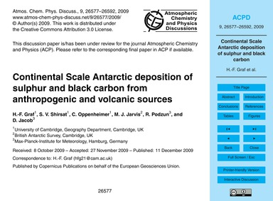 Continental Scale Antarctic Deposition o... by Graf, H.-f.