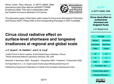 Cirrus Cloud Radiative Effect on Surface... by Dupont, J.-c.