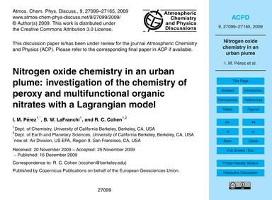 Nitrogen Oxide Chemistry in an Urban Plu... by Pérez, I. M.