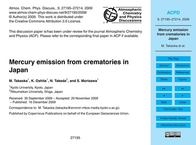 Mercury Emission from Crematories in Jap... by Takaoka, M.