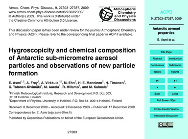 Hygroscopicity and Chemical Composition ... by Asmi, E.