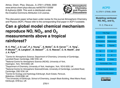 Can a Global Model Chemical Mechanism Re... by Pike, R. C.