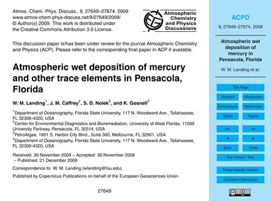 Atmospheric Wet Deposition of Mercury an... by Landing, W. M.