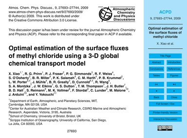 Optimal Estimation of the Surface Fluxes... by Xiao, X.