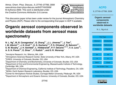 Organic Aerosol Components Observed in W... by Ng, N. L.