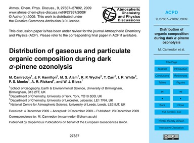 Distribution of Gaseous and Particulate ... by Camredon, M.