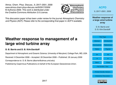 Weather Response to Management of a Larg... by Barrie, D. B.