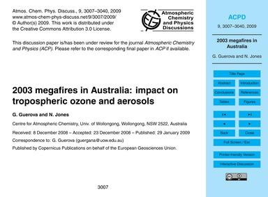 2003 Megafires in Australia: Impact on T... by Guerova, G.