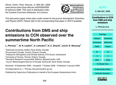 Contributions from Dms and Ship Emission... by Phinney, L.