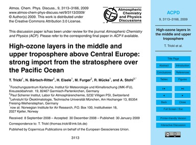 High-ozone Layers in the Middle and Uppe... by Trickl, T.