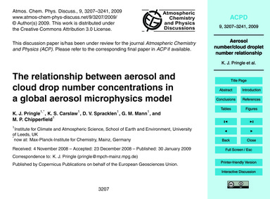 The Relationship Between Aerosol and Clo... by Pringle, K. J.