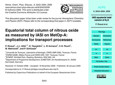 Equatorial Total Column of Nitrous Oxide... by Ricaud, P.