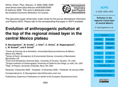 Evolution of Anthropogenic Pollution at ... by Baumgardner, D.
