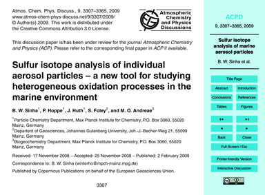 Sulfur Isotope Analysis of Individual Ae... by Sinha, B. W.