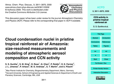 Cloud Condensation Nuclei in Pristine Tr... by Gunthe, S. S.