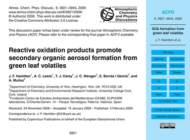 Reactive Oxidation Products Promote Seco... by Hamilton, J. F.