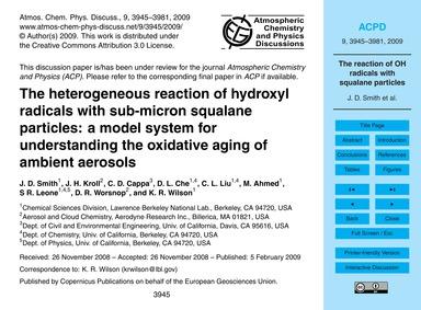 The Heterogeneous Reaction of Hydroxyl R... by Smith, J. D.