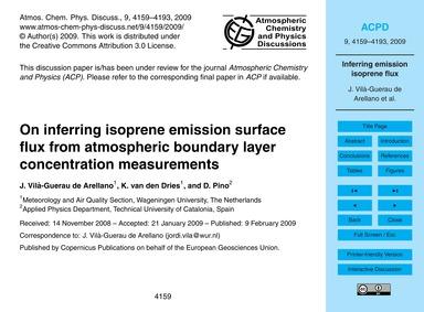 On Inferring Isoprene Emission Surface F... by Vilà-guerau De Arellano, J.