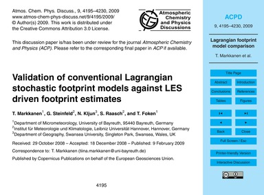 Validation of Conventional Lagrangian St... by Markkanen, T.