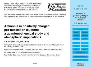 Ammonia in Positively Charged Pre-nuclea... by Nadykto, A. B.