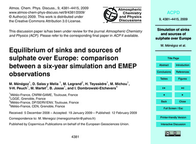 Equilibrium of Sinks and Sources of Sulp... by Ménégoz, M.
