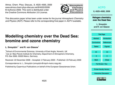 Modelling Chemistry Over the Dead Sea: B... by Smoydzin, L.
