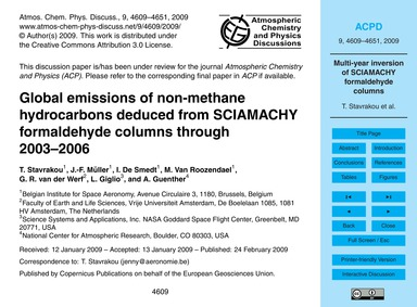 Global Emissions of Non-methane Hydrocar... by Stavrakou, T.