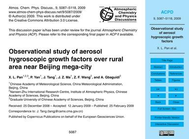 Observational Study of Aerosol Hygroscop... by Pan, X. L.