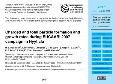 Charged and Total Particle Formation and... by Manninen, H. E.